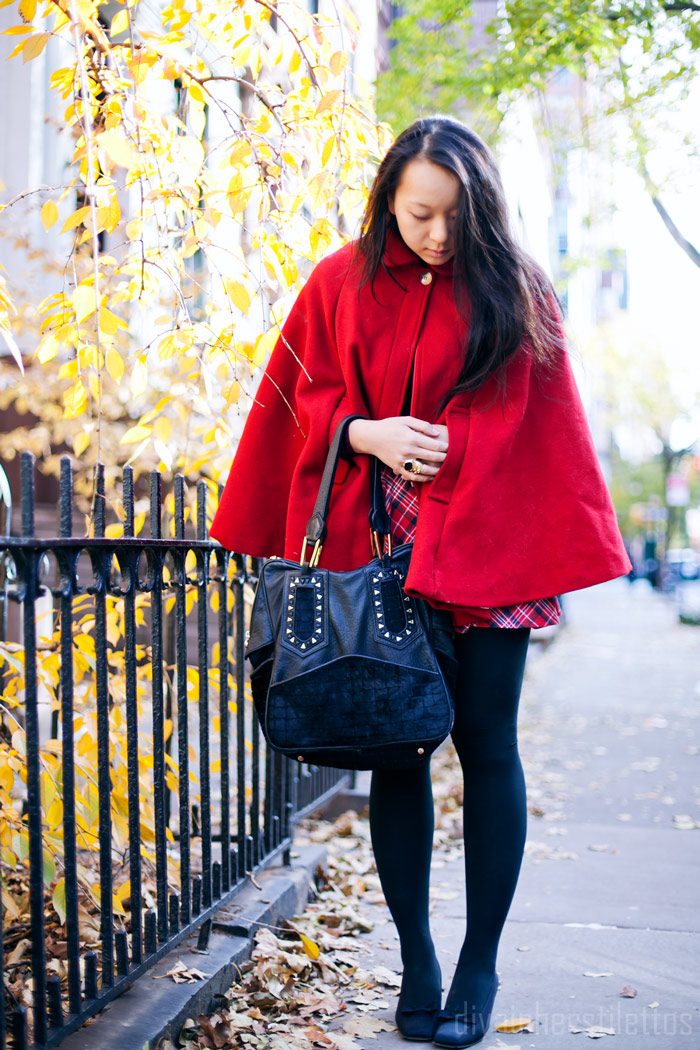 american apparel red wool cape, forever 21 tartan plaid skirt, ysl vintage satin pumps, diya liu, fashion blog, nyc, fall