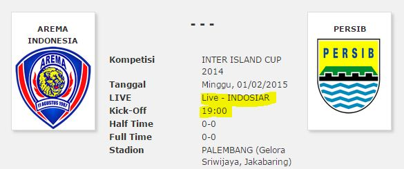 Indosiar Siarkan Langsung Persib vs Arema Final IIC 2014