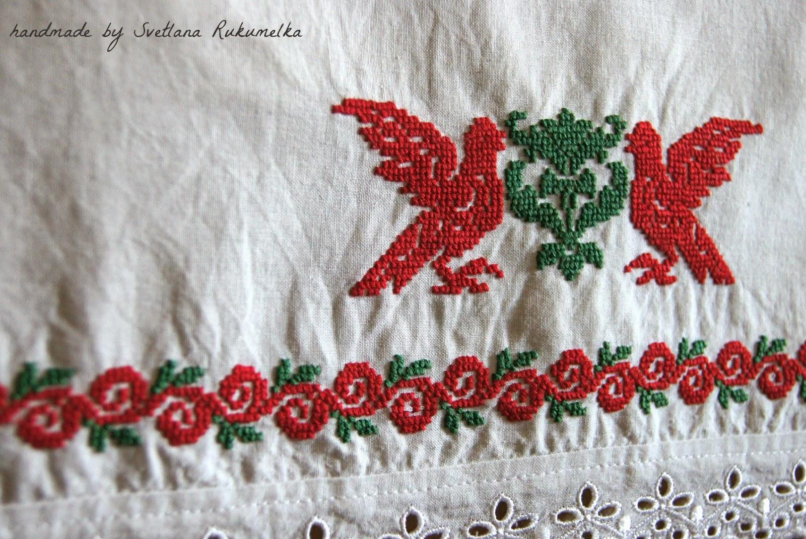 Рушник, вышивка крестом, голуби, цветы, красный, зеленый.