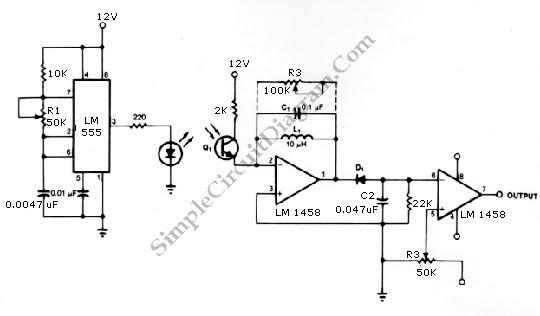 skema rangkaian pemancar dan penerima  infra merah ic ne555