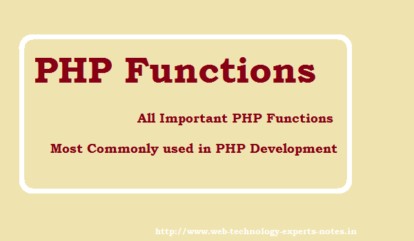 PHP Functions - All Important PHP functions