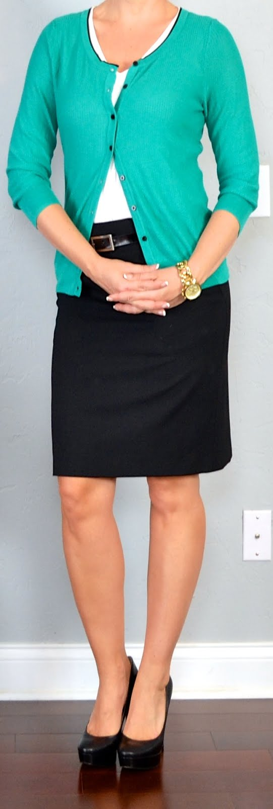 Outfit Posts outfit posts green cardigan black pencil skirt