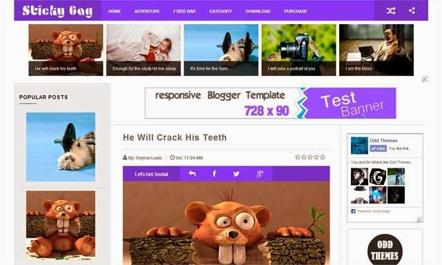 StickyGag Responsive Blogger Template