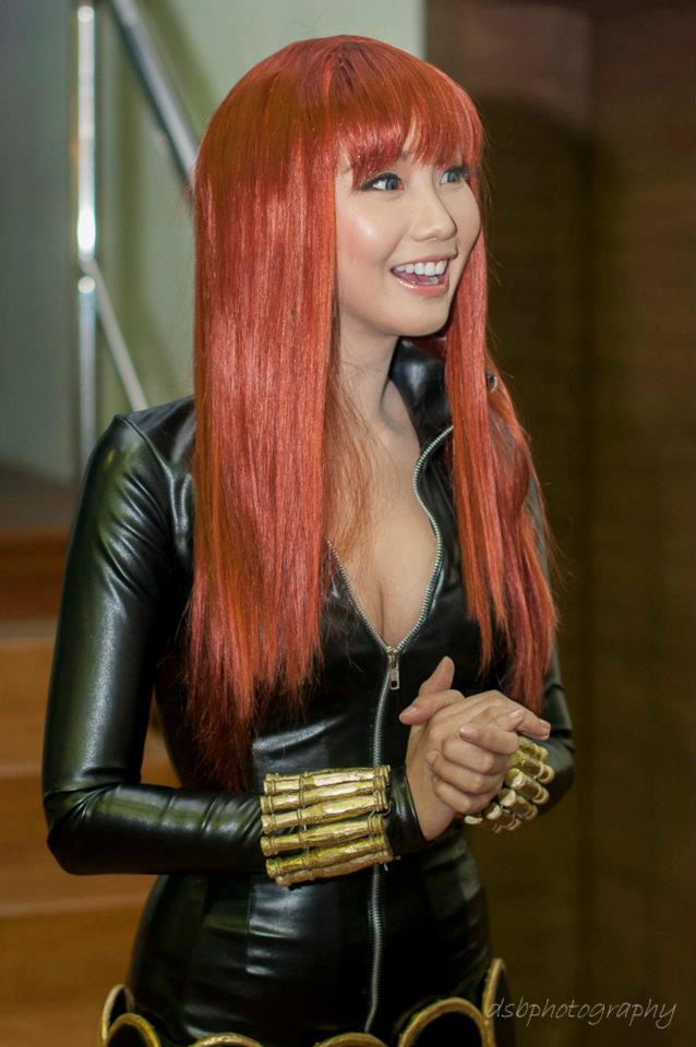 alodia gosiengfiao sexy black widow cosplay 01