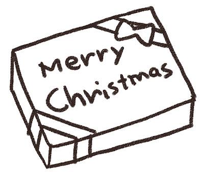 クリスマスプレゼントのイラスト 白黒線画