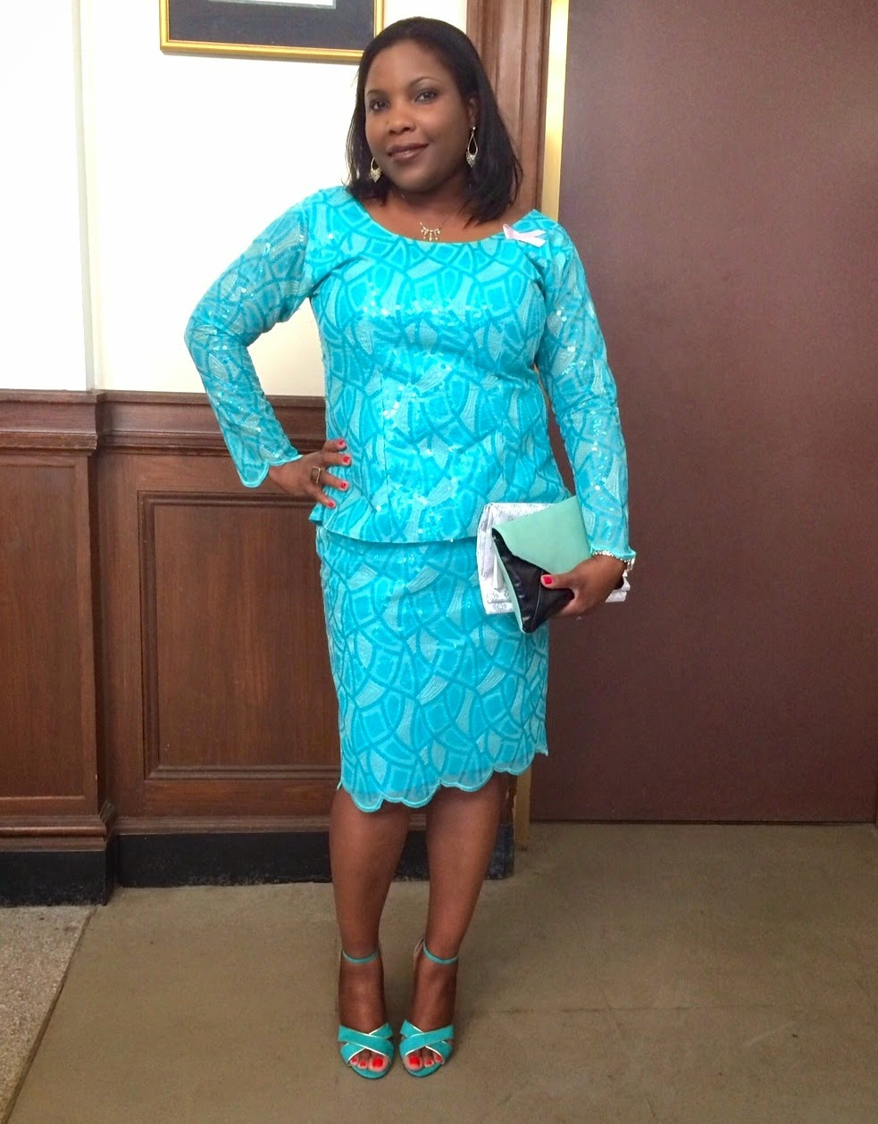 Aqua lace, turqoiuse Lace, Mint lace, Lace pencil skirt, mint and black envelope clutch style and co