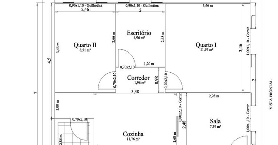 S projetos gr tis projeto de uma casa com 56 metros for Sala de 9 metros quadrados