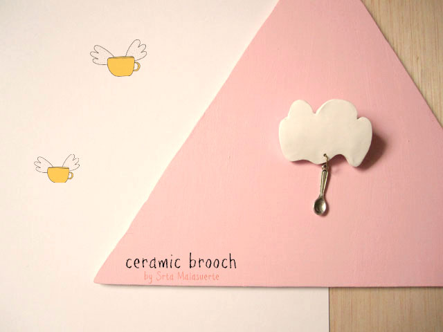 ceramic handmade cloud brooch broche nube ceramica artesania