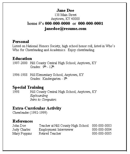 Examples Of Basic Resumes. high school student resume template ...