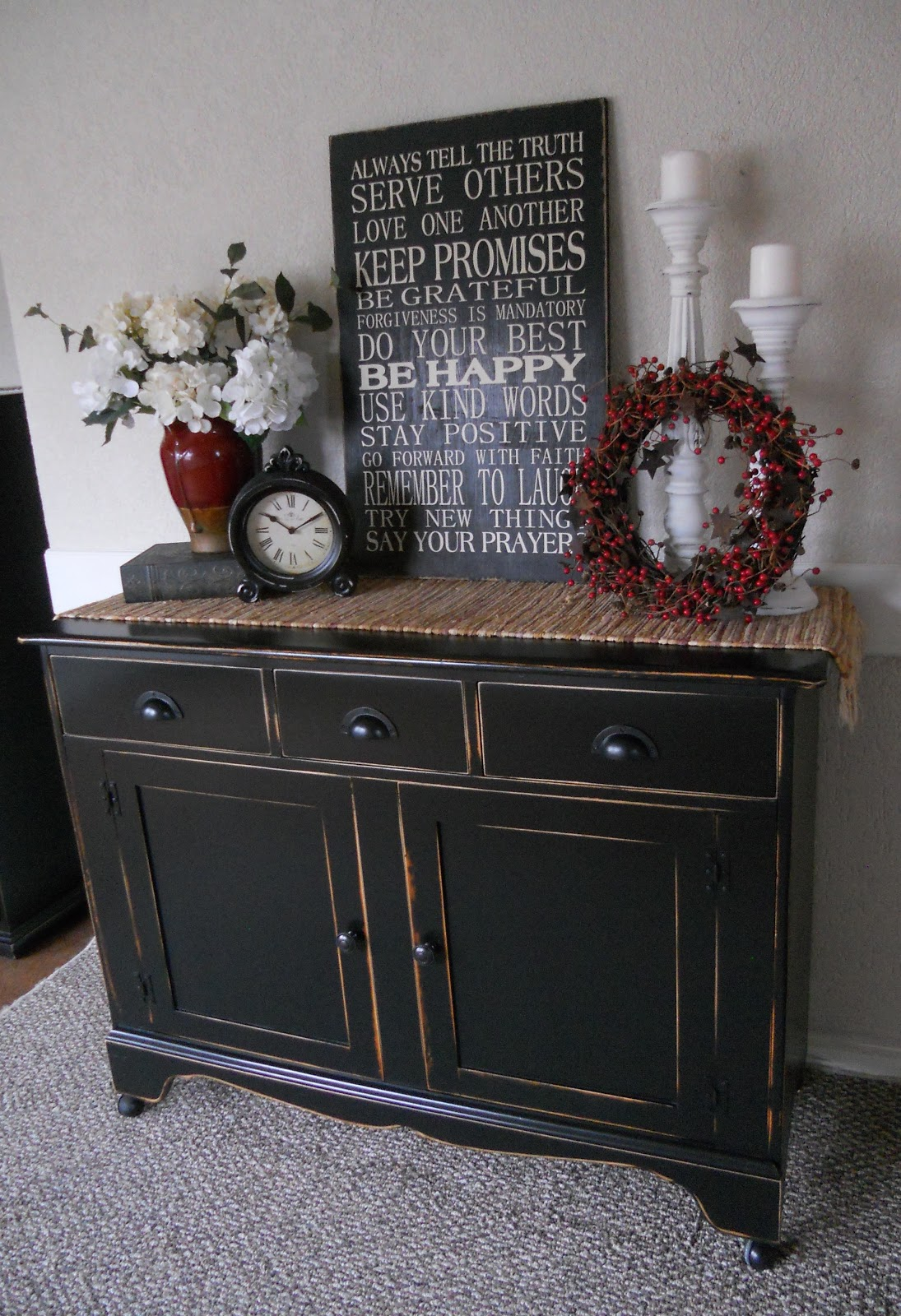 Chalkboards the great and love this on pinterest for Dining room buffet table decorating ideas