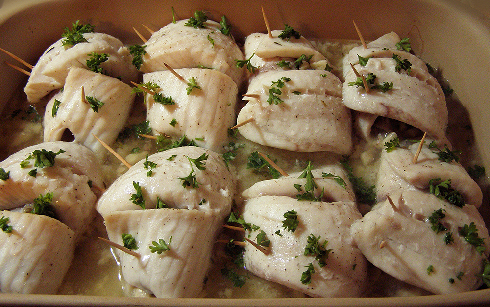 Eight Rolled Tilapia Fillets in Baking Pan