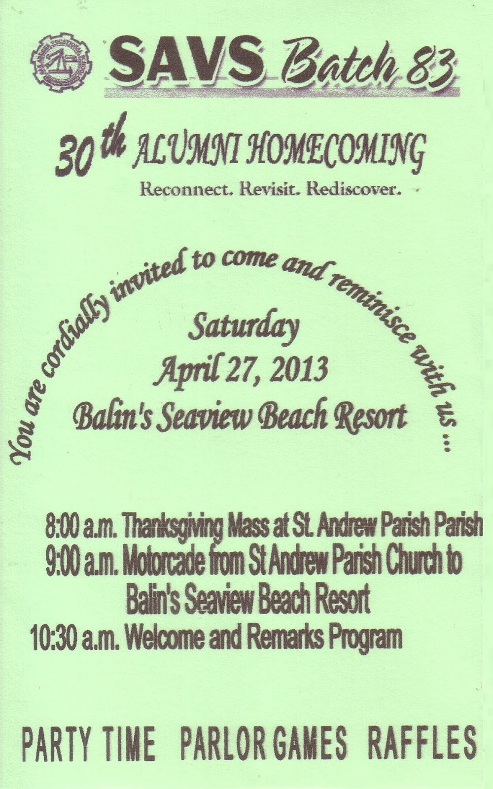 SAVS Batch 83 Our Alumni Homecoming Invitation
