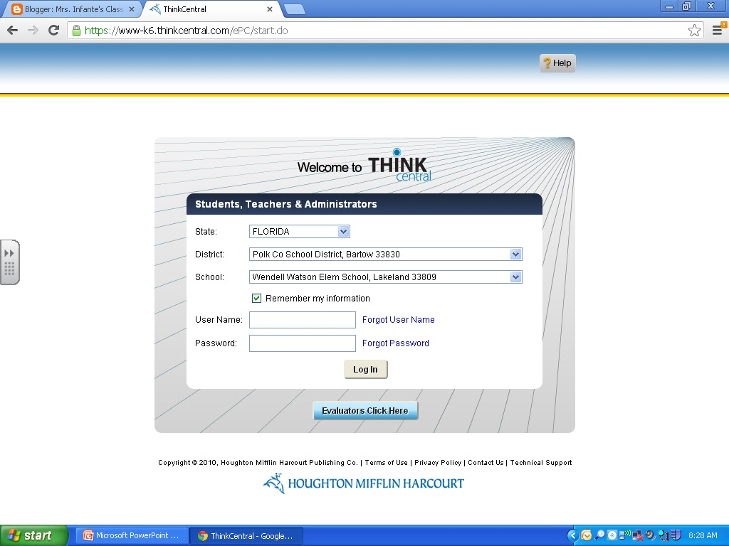 Mrs. Infante\'s Class: Think Central-Our online math book