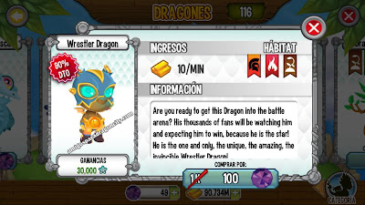 iamgen del dragon luchador en la seccion dragones de dragon city ios