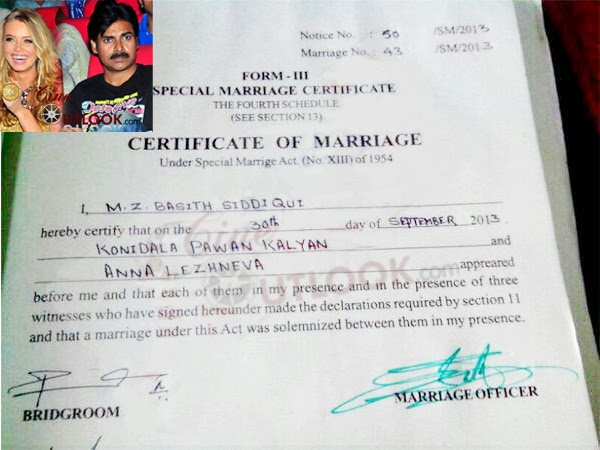 Tollywood trip pawan kalyans third marriage certificate hyderabad city has revealed the marriage certificate of tollywood actor pawan kalyans 3rd marriage with australian model anna lezhneva yadclub Gallery