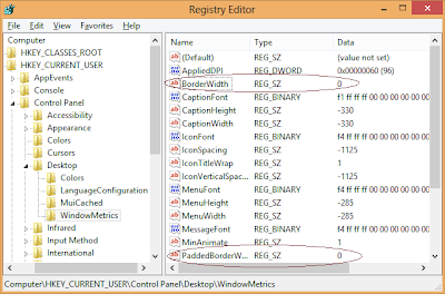 Regsitry Changes for decreasing window border size in WIndows8