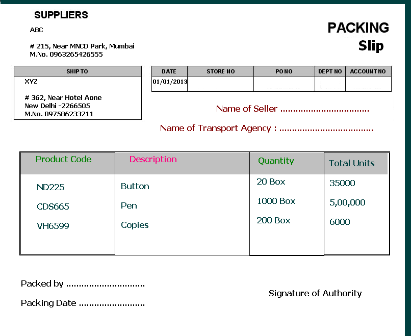 Advance Packing Slip Format  Packing Slip Format