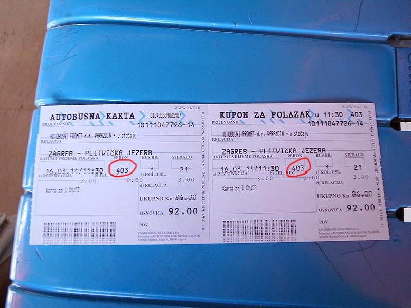 ザグレブ発プリトヴィッツェ行きバスチケット