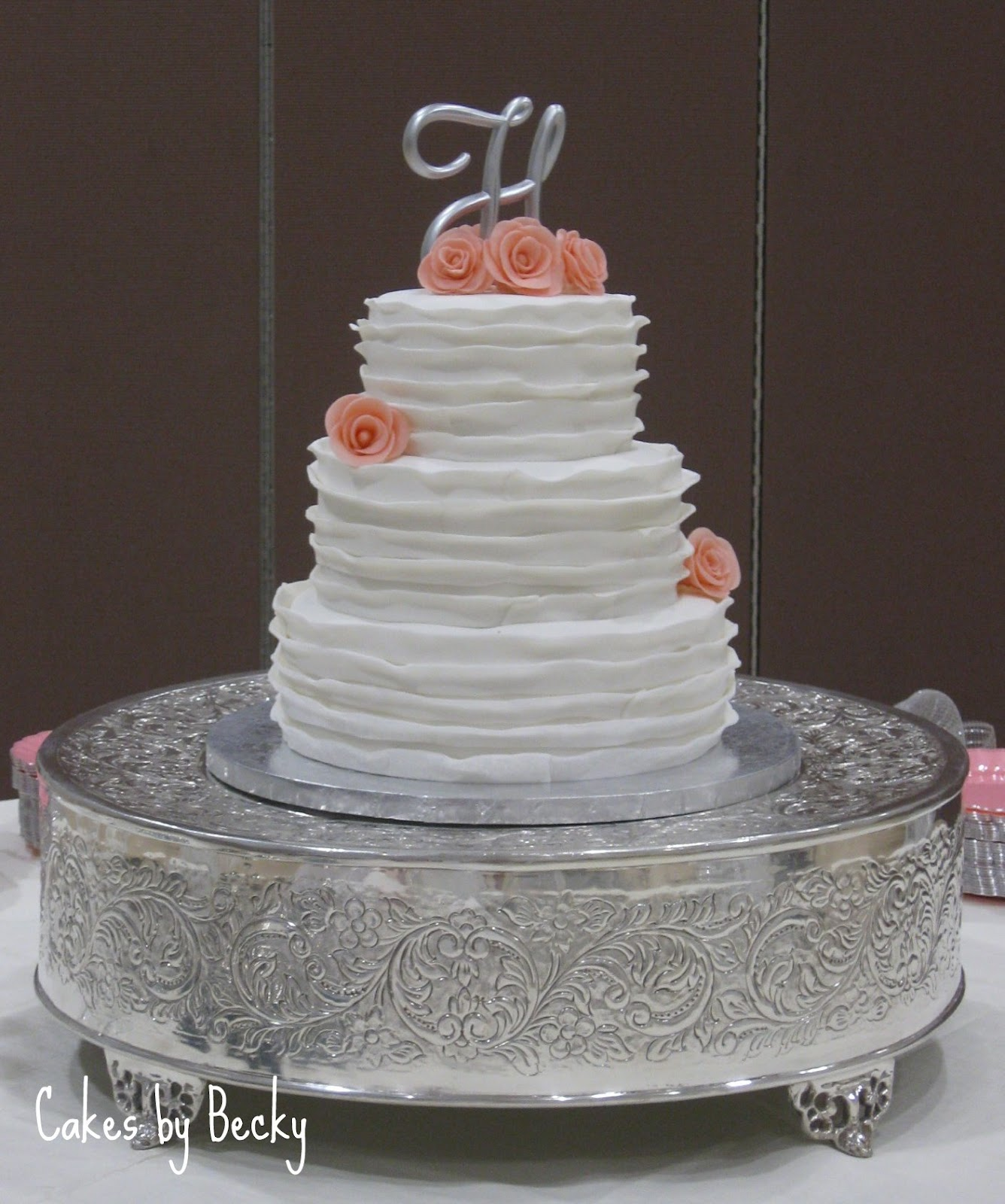 Cakes by Becky: White Ruffled Wedding Cake