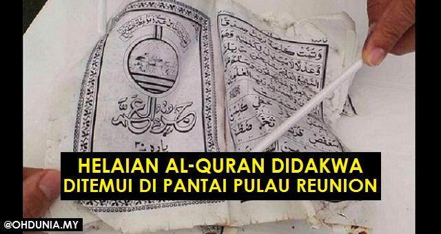 MH370: helaian Al-Quran didakwa ditemui terdampar di Pulau Reunion!..