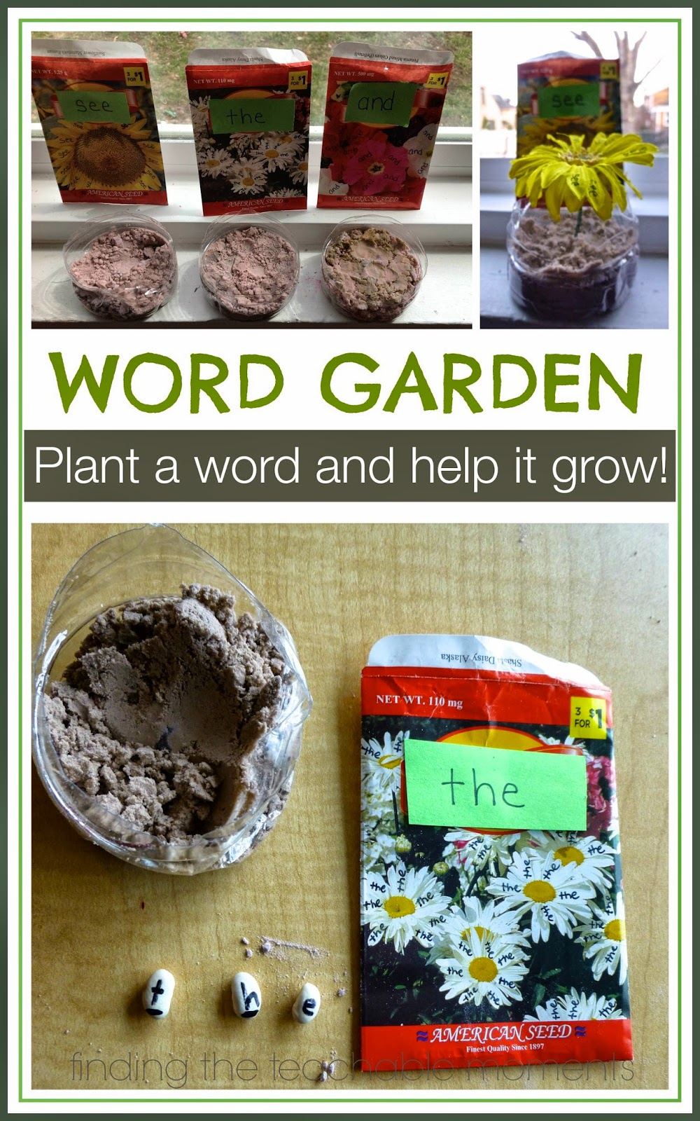 Word Garden- Plant a word and help it grow!  Fun activity to teach sight words or letter sounds with a gardening theme. - Finding the Teachable Moments