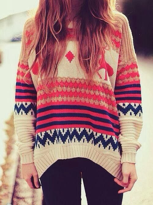Red and blue lined adorable sweater for fall