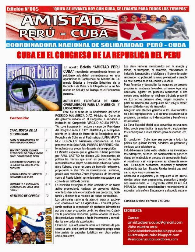 """BOLETIN Nª005 """"AMISTAD PERU CUBA"""""""