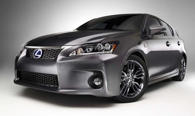 Extreme closeup front 3/4 view of dark grey 2012 Lexus CT 200h Premium F Sport