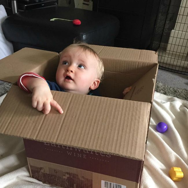 Baby in cardboard box looking up