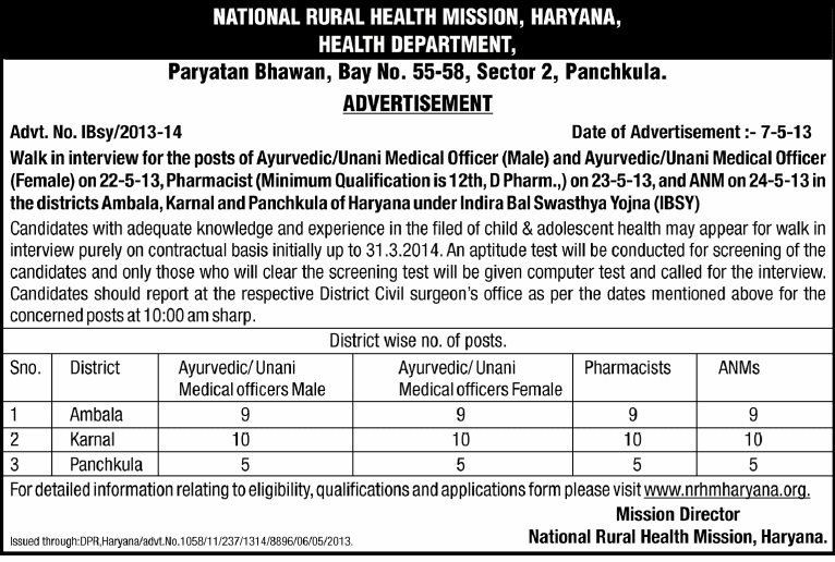 NRHM Haryana Recruitment 2013 | NRHM Walk in Interview  www.nrhmharyana.org