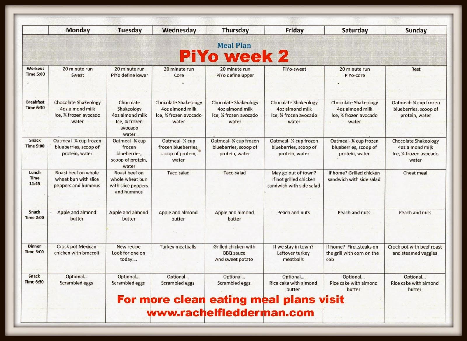 clean eating meets country girl piyo week 2 meal plan