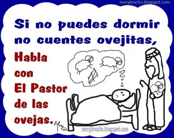 Postal No cuentes ovejitas para dormir. Insomnio, falta de sueño, oración para descansar, Habla con Jesús, El Buen Pastor. No contar ovejas al reposar