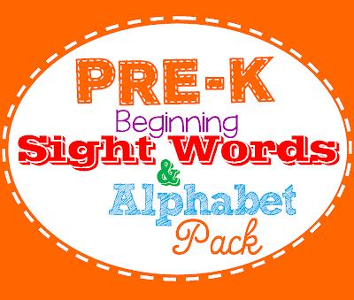 list  Pack Words worksheets Printable word Pre sight K Sight fry