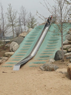 corktown common slide, toronto slide, playground