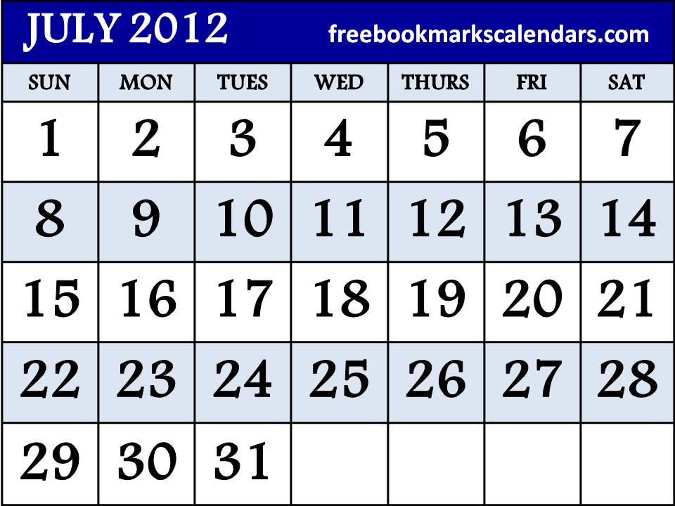 Free Printable Calendar Templates 2012