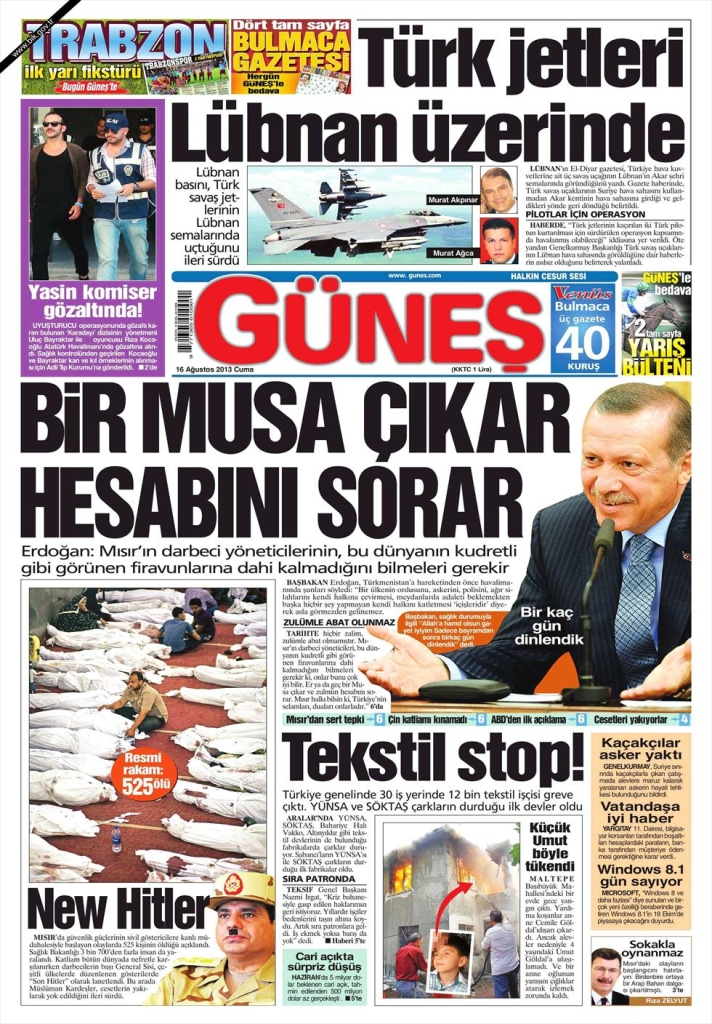 gunes front page aug 16