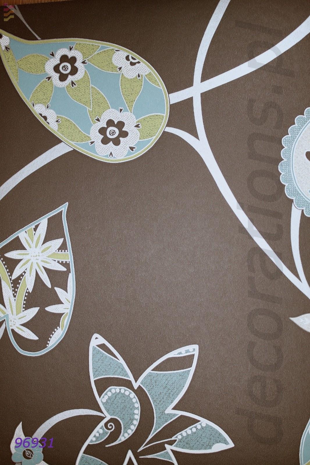 brązowa tapeta w kwiaty