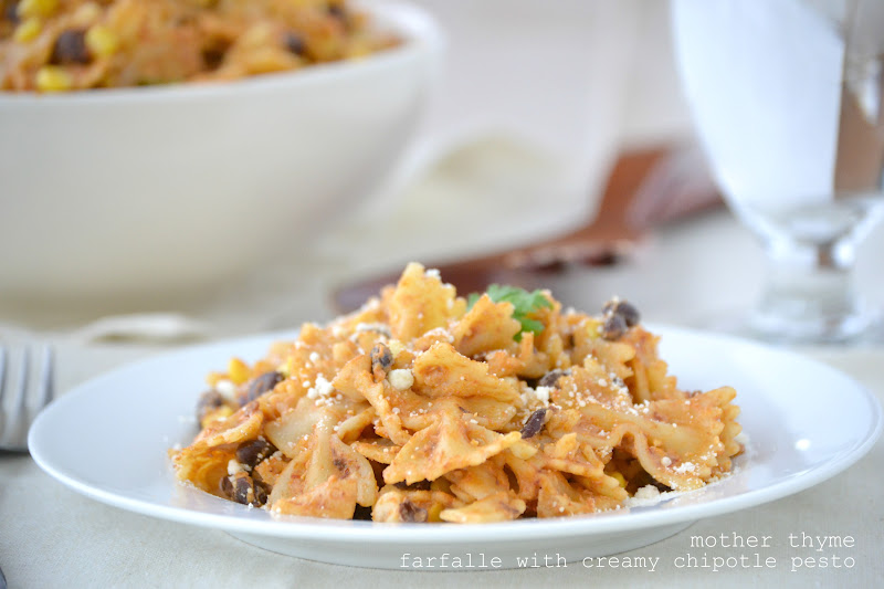 Farfalle with Creamy Chipotle Pesto, Black Beans and Corn - Mother ...