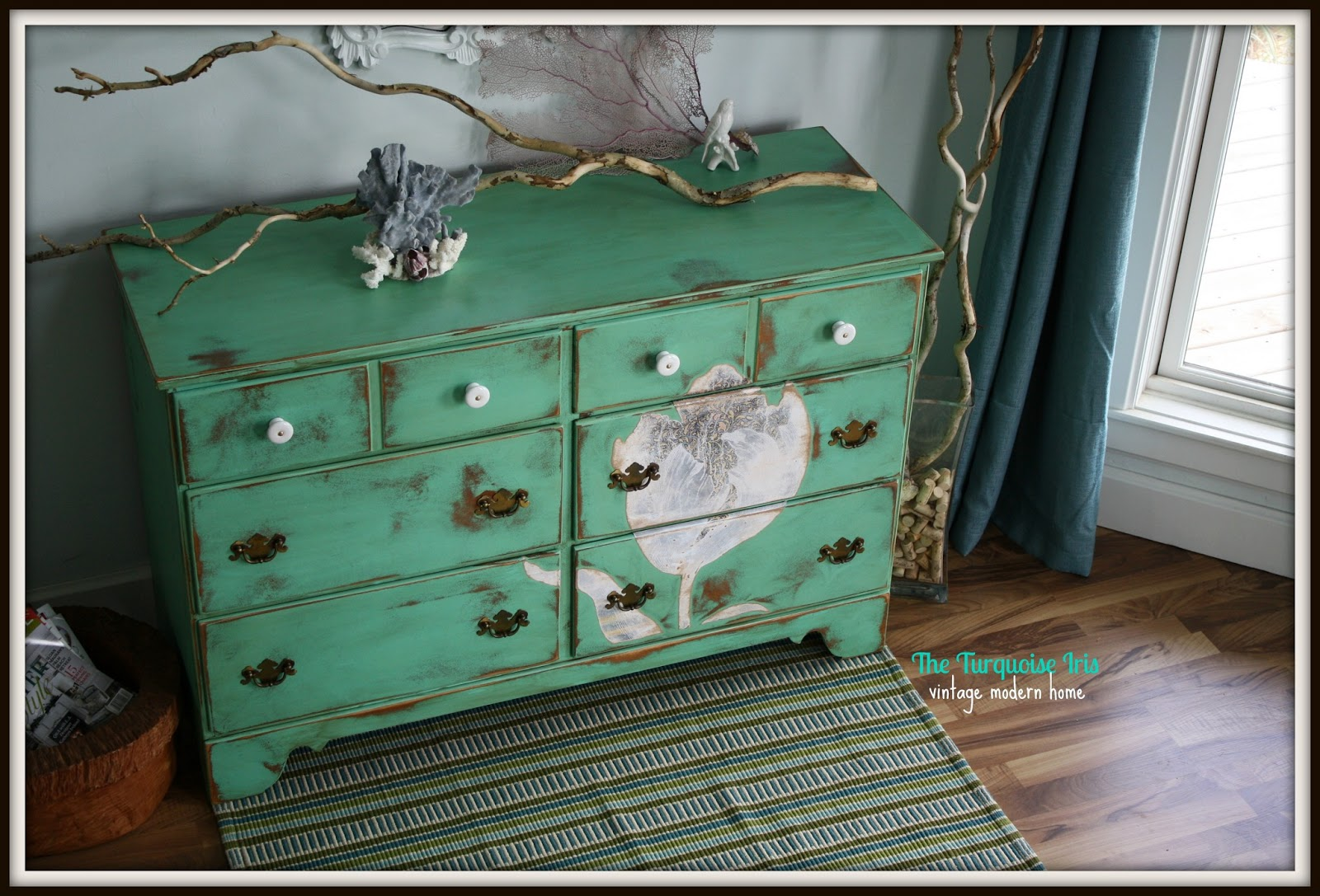 The Turquoise Iris Vintage Modern Hand Painted Furniture