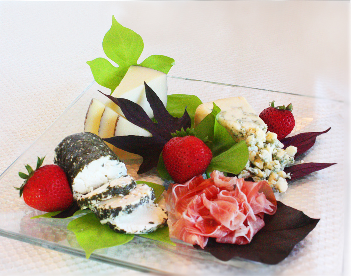 Sweet+potato+leaf+with+cheese,+proscuitto,+&+fruit+plate