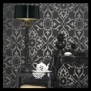 Dramatic metallic with gothic wallpaper for home for Gothic decorations home