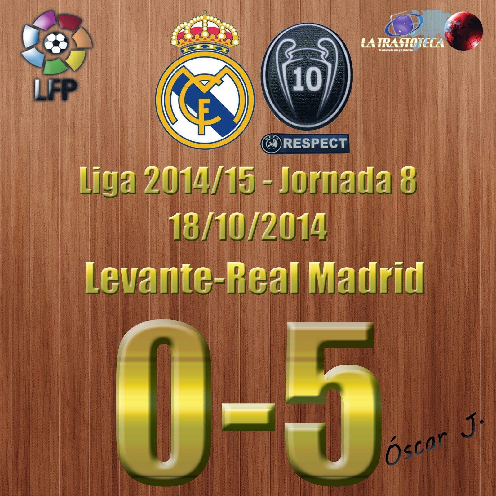 Levante 0-5 Real Madrid - Liga 2014/15 - Jornada 8 (18/10/2014) - Doblete de Cristiano Ronaldo.