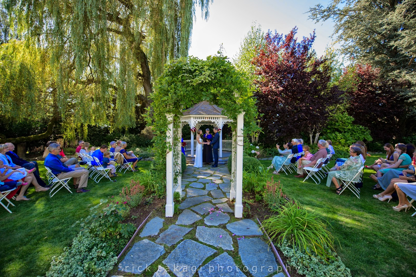 The garden wedding of Aaron and Ashley at The Grand Willow Inn - Patricia Stimac, Seattle Wedding Officiant
