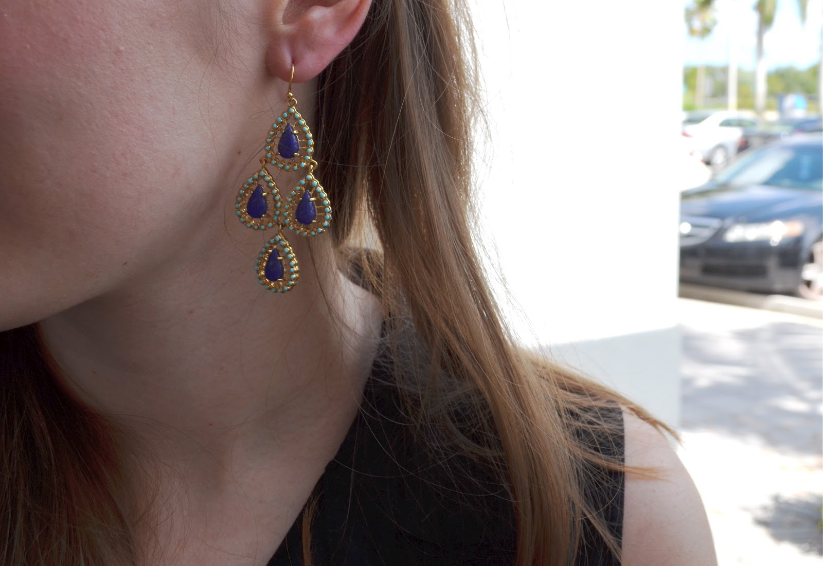 The blue curtain stella dot this last one is the seychelles chandelier earring also available in pink arubaitofo Image collections