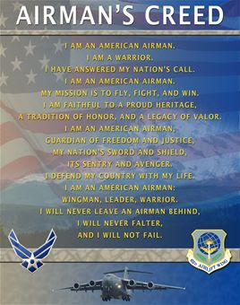 All my time a warriors wife i would have told them that my husband is a living example of the airmans creed altavistaventures Choice Image