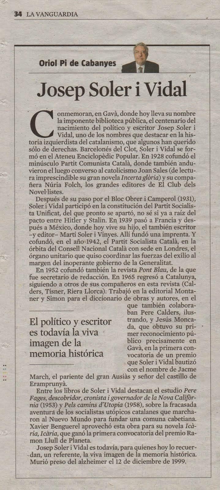 Nota d'Oriol Pi de Cabanyes