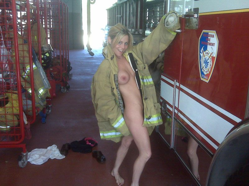 This firefighter chick is slide down my pole