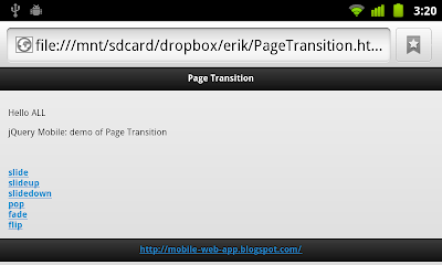 Apply Page Transition effects in jQuery Mobile
