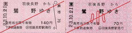 JR東日本 羽後長野駅 常備軟券乗車券2 一般式