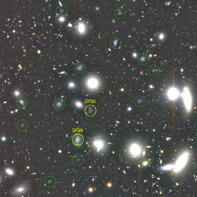A color image made with B, R, and i-band images from the Subaru Telescope. A small region of 6 x 6 arcmin is cut out from large Coma Cluster images. Yellow circles show two of the 47 dark galaxies discovered last year, and green circles are the ones discovered in this new study. Image without the labels is here, image without the labels and circles is here. (Credit: NAOJ)